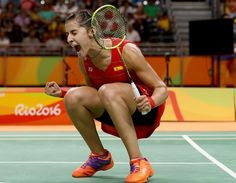 Carolina Marin of Spain celebrates her match win over Ji Hyun Sung of Korea during the Women's Quarterfinal match on Day 11 of the Rio 2016 Olympic Games at Riocentro - Pavilion 4 on August 2016 in Rio de Janeiro, Brazil. Women's Badminton, Deepika Padukone Hot, Indian Star, Rio Olympics 2016, Sports Stars, Athletic Women, Female Images, Female Athletes, Olympic Games