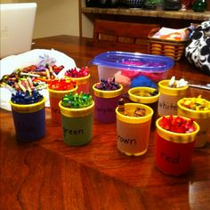 recycle play-doh containers | Recycled play-doh containers to organize colors