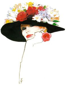 Rene Gruau. My all time favourite fashion illustrator. Hard to describe why I love this portrait so much without sounding like a pretentious art critic. She is so so feminine, the flowers suggest fragility and yet she is oh-so powerful.