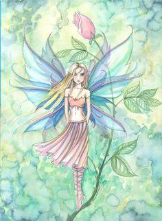 Molly Harrison Breath of Spring Fairy Art Fairy Dust, Fairy Land, Fairy Tales, Fairy Coloring, Mermaid Coloring, Illustrations, Illustration Art, Magical Creatures, Fantasy Creatures