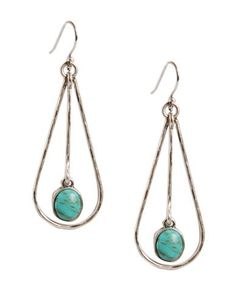 Add a touch of color to your ensemble with these silvertone metal drop earrings from Lucky Brand. Features a semi-precious turquoise stone at the center.