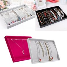72 Slots Rings Holder Box Tray Organizer Show Case Jewelry Display