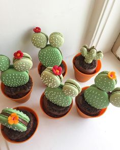 Cactus cupcake macarons Picture by @sanna_hederstedt