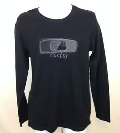 Men's Oakley M Black Long Sleeve Thermal Graphic Pullover Shirt Cotton Blend  #Oakley #GraphicTee