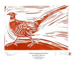 Original Linocut Print 'Pheasant', hand printed and signed, birds art and wildlife lino cut block print