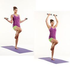 Mix-and-Match Pilates Moves for a Strong, Sleek Body great core move to do wts while balancing on 1 leg–hard to tell if the model's hips are level/even across. Be sure both sides of yr waist are equally long. Pilates Moves, Pilates Video, Pilates Workout, Pilates Reformer, Butt Workouts, Easy Workouts, Fitness Tips, Fitness Motivation, Health And Wellness