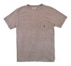 Cotton Linen Micro Stripe Pocket Tee - MEN - Tees & Tanks - Lightning Bolt
