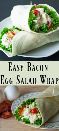 Quick to make and packed with flavour this easy Bacon Egg Salad Wrap is perfect for a quick lunch or a light dinner. Fresh herbs and bacon give this egg salad gourmet flavour. Serve it on lettuce leaves for a Keto diet! Fun Easy Recipes, Wrap Recipes, Egg Recipes, Quick Easy Meals, Lunch Recipes, Delicious Recipes, Delicious Sandwiches, Kitchen Recipes, Easy Family Meals