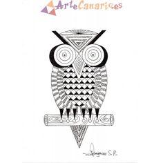 La Lechuza Canaria o el Búho La Tienda de ArteCanario.es  Artista: Jorge Santana Romero  #artecanario #comprar #arte #canarias