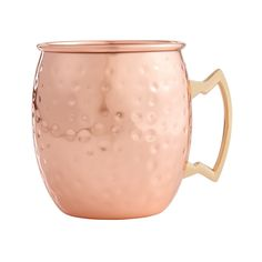 HIC Hammered Copper Moscow Mule Drinking Mug with Contrasting Handle, Copper-Plated 18/8 SS, 16oz