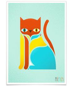 Awesome cat illustration by Kevin Gotkovsky