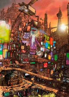 The Art Of Animation, cityscape Concept Art Bonetech3D SteamPunk Fashion Sci-Fi