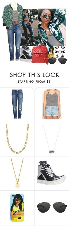 """""""JustineSkye #25"""" by babygyal09 ❤ liked on Polyvore featuring H&M, Amour Vert, Fremada, Diane Kordas, Chanel, Rick Owens and Ray-Ban"""