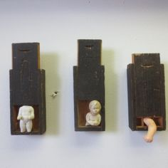 untitled assemblages, by axel stohlberg 2014. I like the way these open, like pencil boxes turned on their sides.