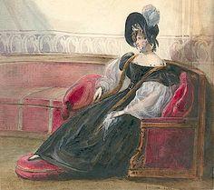 Queen Hortense exile in Arenenberg, watercolor.