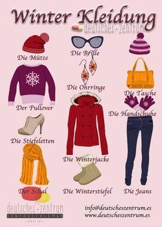 German vocabulary – Winter clothes / Winter clothes- - My CMS Study German, German English, Learn German, Learn French, German Grammar, German Words, German Resources, Deutsch Language, German Translation
