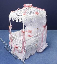 Miniature White Covered Crib by Serena Johnson - Little Dollhouse Company: Canadian source for Doll Houses, Kits and Furniture in our Dolls House Store Miniature Dollhouse Furniture, Dollhouse Kits, Miniature Dolls, Dollhouse Miniatures, Baby Doll Nursery, Baby Dolls, Baby Craddle, Cool Pictures For Wallpaper, Doll Furniture