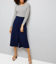 Navy Wide Leg Cropped Trousers  | New Look