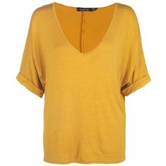Boohoo Aria Oversized V Neck T Shirt ($16) ❤ liked on Polyvore featuring tops, t-shirts, jersey t shirt, yellow t shirt, v neck t shirts, v-neck tee and v-neck camisoles