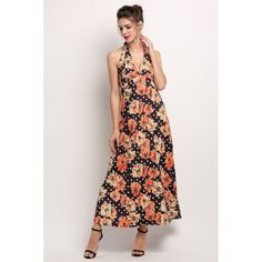 Fashion Women Halter Strap Floral Print Maxi Long Dress