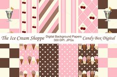 Candy Box Digital just released Ice Cream Shoppe Digital Background Papers for scrapbooks, graphic design and paper crafts on Creative Market.  Great retro digital papers - and there's even a cherry on top!