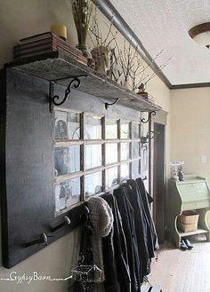 Old door+coat pegs+ old barn wood shelf