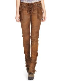 85a7a2e2be11 Fringed Stretch Leather Pant - Polo Ralph Lauren Pants - RalphLauren.com