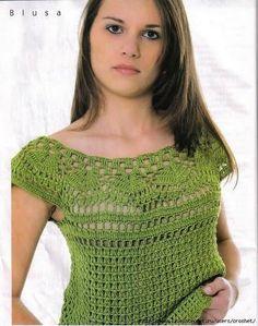 Grace y todo en Crochet: BELLA BLUSA EN VERDE...BEAUTIFUL GREEN BLOUSE ..