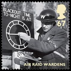 """Air raid wardens stamp - Royal Mail said the Britain Alone collection pays tribute to the wartime generation who resolved to """"do their bit"""" for the war effort and """"dare and endure"""" on the Home Front."""