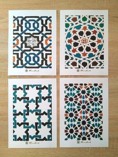 SET of 3 prints with ALHAMBRA tiles. Kitchen wall art with hand painted designs Islamic Art Pattern, Arabic Pattern, Pattern Art, Geometric Patterns, Geometric Tiles, Motifs Islamiques, Islamic Tiles, Mediterranean Tile, Arabic Design