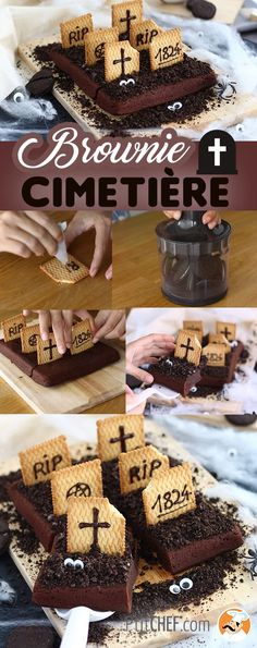 A scary and delicious cake to serve during Halloween. - Recipe Dessert : Graveyard brownies for halloween by PetitChef_Official Comida De Halloween Ideas, Pasteles Halloween, Bolo Halloween, Halloween Brownies, Halloween Graveyard, Toddler Halloween, Halloween Birthday, Scary Halloween, Halloween Recipe