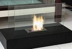 Free standing fireplace...how cool!