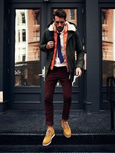 layers // menswear, mens style, fashion, burgundy, orange, green, vest, tie, winter, fall, preppy