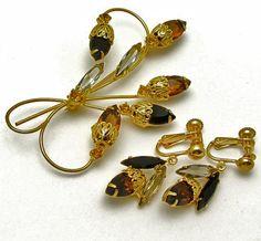 Topaz Pin Earrings Jewelry Set Vintage Rhinestone by hawaiibeads2