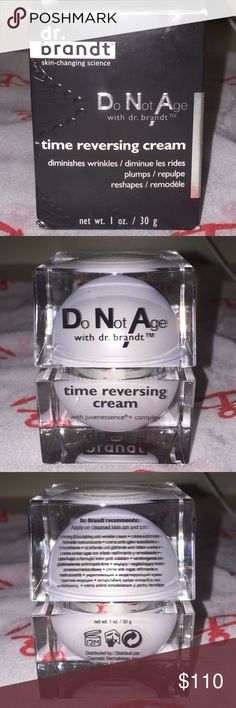 BNIB Dr. Brandt DNA Do Not Age, time reversing cream... Diminishes wrinkles, plumps and reshapes.... Global anti-aging moisturizer formulated with Dr. Brandt's skin transforming system. This sensational lamellar formula melts at skin temperature to deliver the power of juvenessence+complex, designed to: fuel your skin daily with vital energy, jump start skins metabolism and helps restore skins architecture-sagging skin, loss of volume & density, wrinkles. Dr. Brandt Makeup