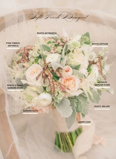 Soft peach bridal bouquet recipe | photo by J. Layne Photography | Flowers by  Ruby Reds Floral
