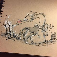 """#inktober day 28: BURN. """"Hoozar the Infirmed"""" there is nothing worse for a forest than when a dragon has a cold. #inktoberdragons"""