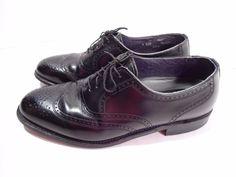 VINTAGE Hanover Men's Wing Tip Comfort Dress Shoes Black Leather USA MADE-9 D/B #Hanover #WingTip
