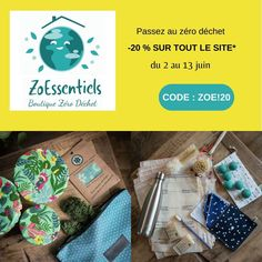 """Profitez du déstockage chez Zoessentiels pour vous équipez en produits écolos et zéro déchet, majoritairement fabriquées en France. Peut-être est-ce l'occasion d'offrir des produits éthiques à des enfants, faire le pleins de cosmétiques solides, de vous équipez des indispensables pour un été écolo ou encore les indispensables pour une cuisine ou un ménage écolo ? Pour en profiter, indiquez le code promo """"ZOE!20"""" avant de valider votre commande. Blog Bio, Green Lifestyle, Summer Deco, Code Promo, Made In France, Occasion, Boutiques, Creations, Diy"""