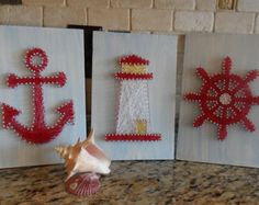 Nautical String Art Set by WeHeartStringz on Etsy String Wall Art, Nail String Art, String Crafts, Anchor String Art, Resin Crafts, Hilograma Ideas, Diy And Crafts, Arts And Crafts, Simple Artwork