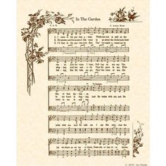 IN THE GARDEN --- 8 x 10 Antique Hymn Art Print on Natural Parchment in Sepia Brown Ink - Alternate Color - Personalize on Etsy, $5.00