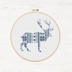 Nordic Pattern Christmas Reindeer Cross Stitch Pattern Printable Deer Instant Download PDF Scandinavian Modern Cross Stitch Holiday DIY Gift - pinned by pin4etsy.com:
