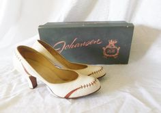 1950's Vintage White and Brown Pumps Shoes by MyVintageHatShop, $61.00