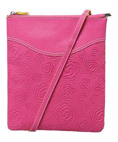 Take a look at the Mellow World Pink Flower-Embossed Faux Leather Crossbody Bag on #zulily today!