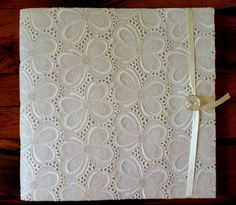 Handmade wedding photo album made with white lace by Newleafjournals, $145.00