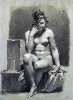 "FINE ART DRAWING ""The Source"" Artist: Pierre-Paul Prud'hon Completion Date: c.1801 Place of Creation: France Style: Neoclassicism Genre: allegorical painting Technique: chalk Material: paper Dimensions: 38.9 x 53.8 cm Gallery: Sterling and Francine Clark Art Institute at Williamstown, MA, USA https://www.facebook.com/TheNudismAndNaturismDailyNews"