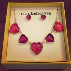 Brand New Valentine's Day collection This necklace is in dark and light red color and the necklace itself is in gold color mixed together  is brand new and never used before and is very nice for Valentine's Day ❤️❤️ Liz Claiborne Jewelry Necklaces