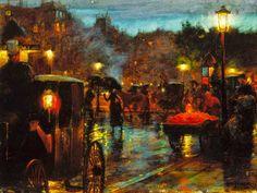Le Prince Lointain: Charles Courtney Curran (1861-1942), Paris la Nuit...