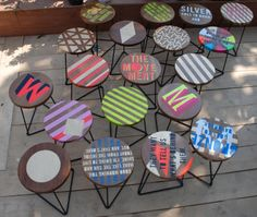 I love these unique tables. What a great way to personalize a small cafe or coffee shop. You could even have an art contest with local students and artists to generate buzz upon opening or unveiling your new tables. These look like they could be done with those round wooden disks available at box hardware stores.