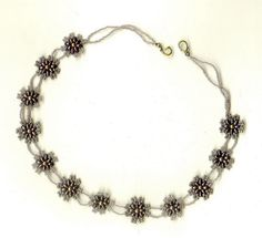 Herringbone and tween beads elements necklace - 1